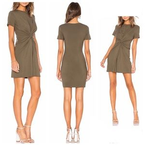 Theory Knot Tee Dress in Faded Army